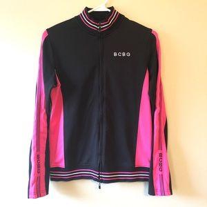 BCBGMaxAzria Black/Pink Track Jacket—M